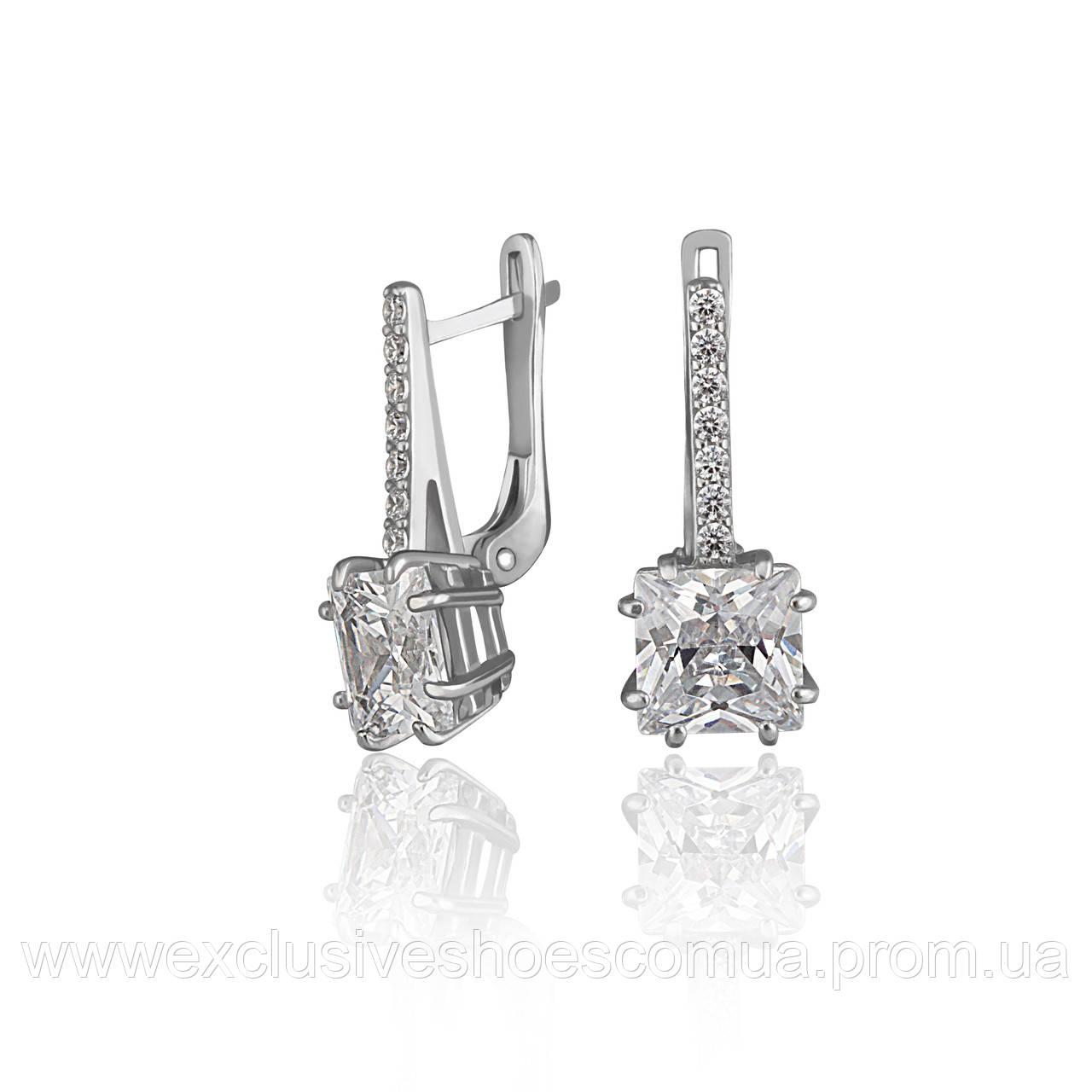 Серебряные серьги с крупным квадратным фианитом, арт-920092б