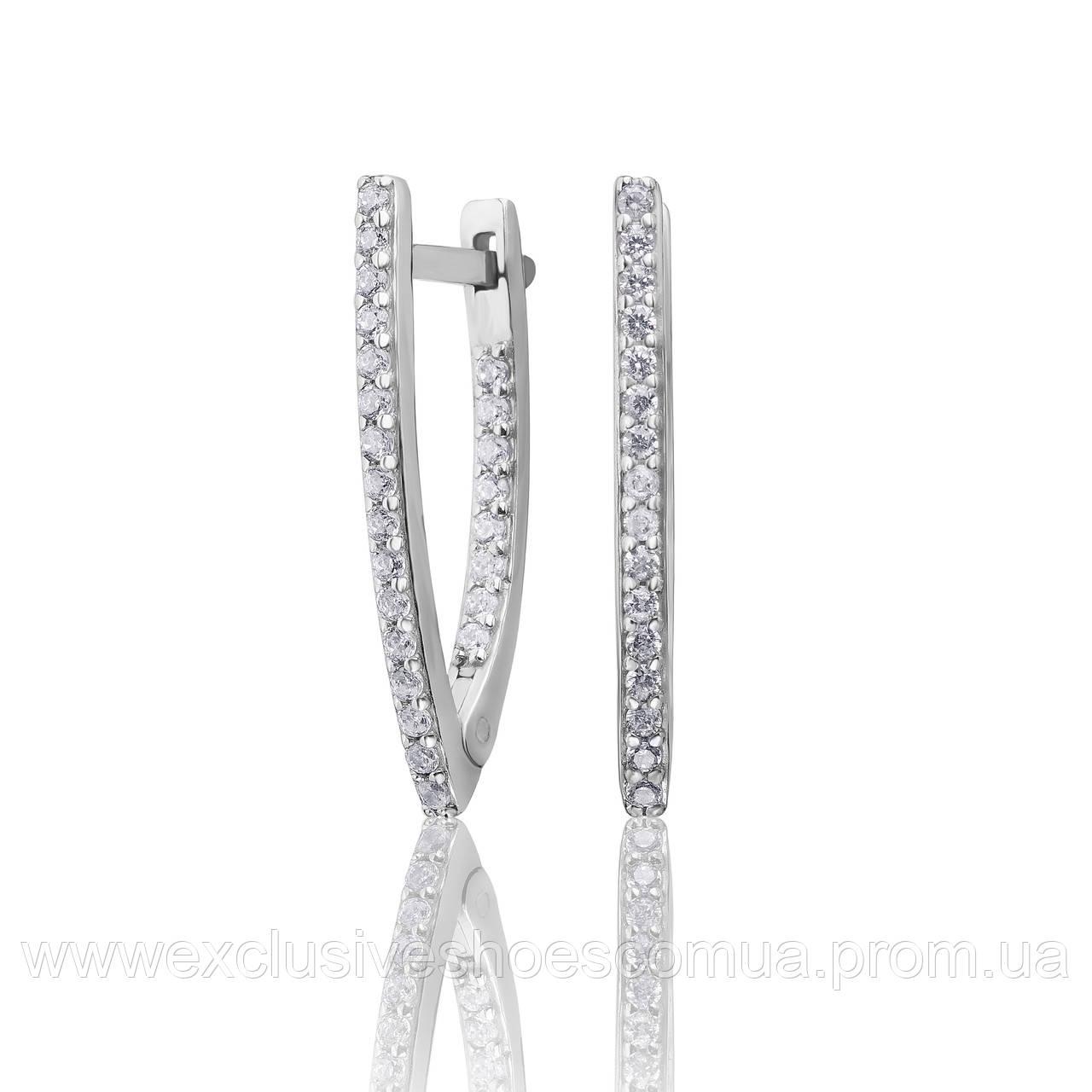 """Серебряные серьги палочки """"Веста"""", с фианитами, арт- 920126б"""