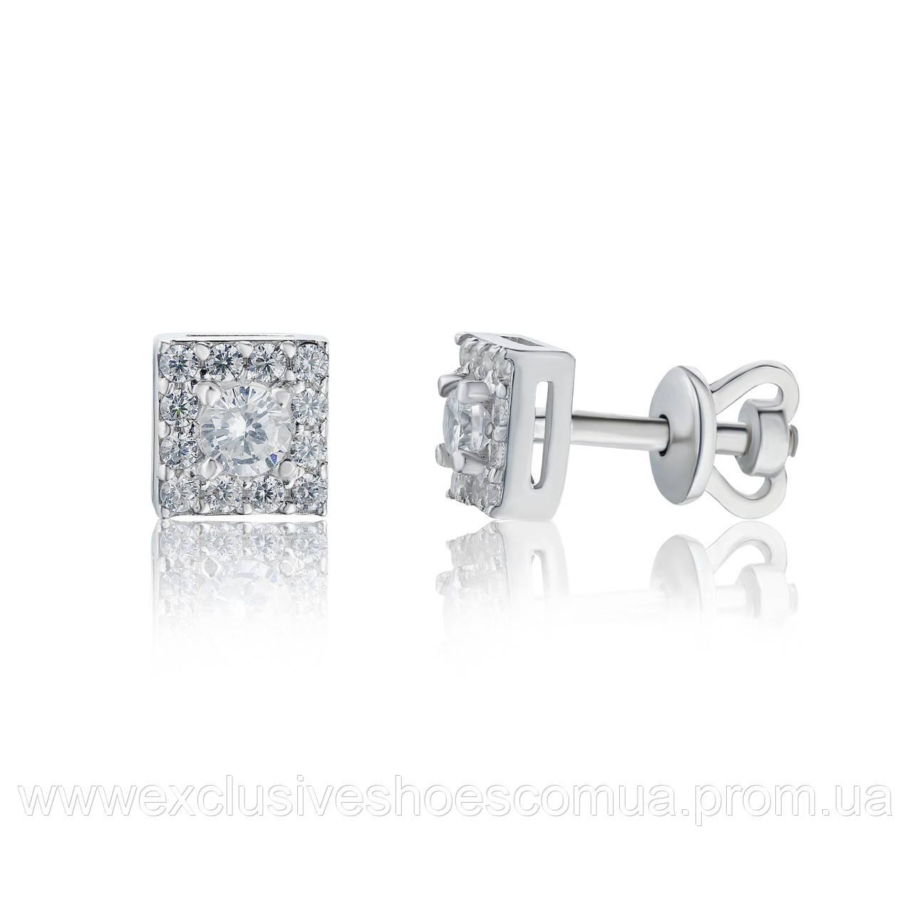 Серебряные серьги гвоздики квадратной формы с фианитами, арт-929009б