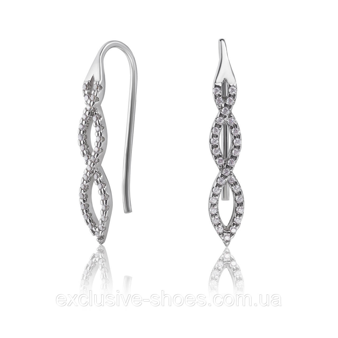 """Серебряные серьги """"Берта"""" с фианитами, арт-920093б"""