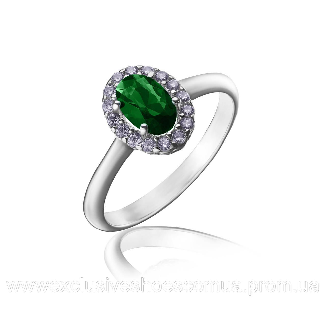 """Серебряное кольцо """"Лили"""" с овальным изумрудом и фианитами, арт-910052из"""
