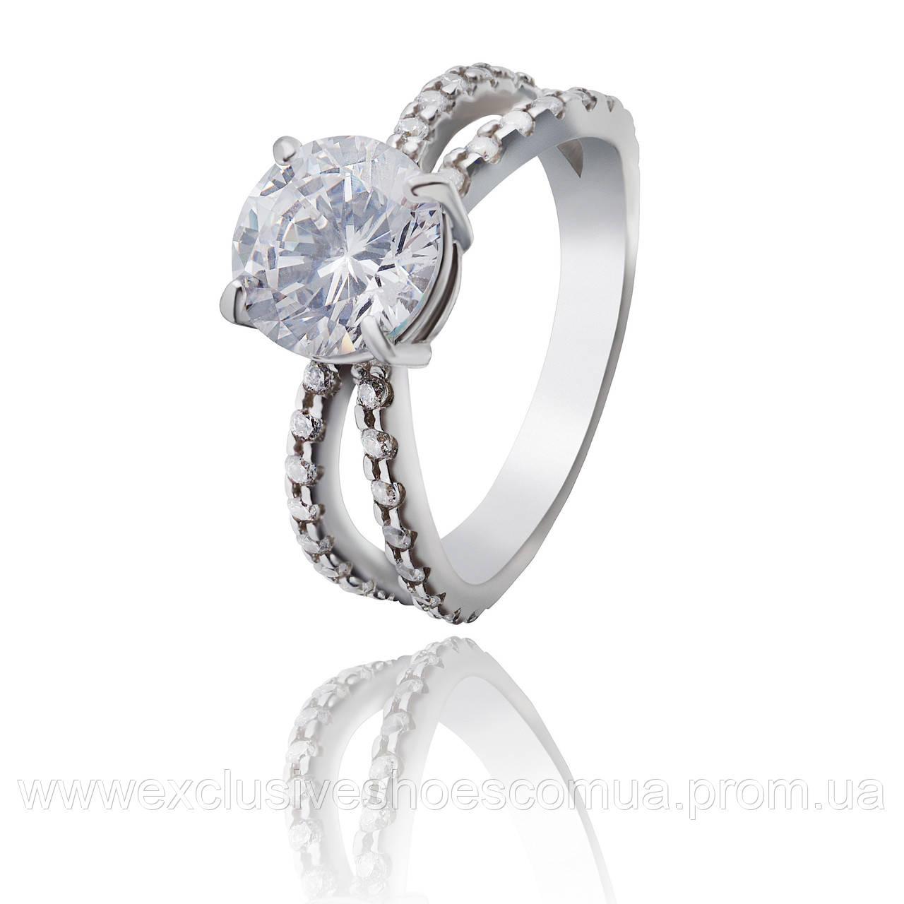 """Серебряное кольцо с крупным фианитом """"Quinn"""" арт-910078б"""