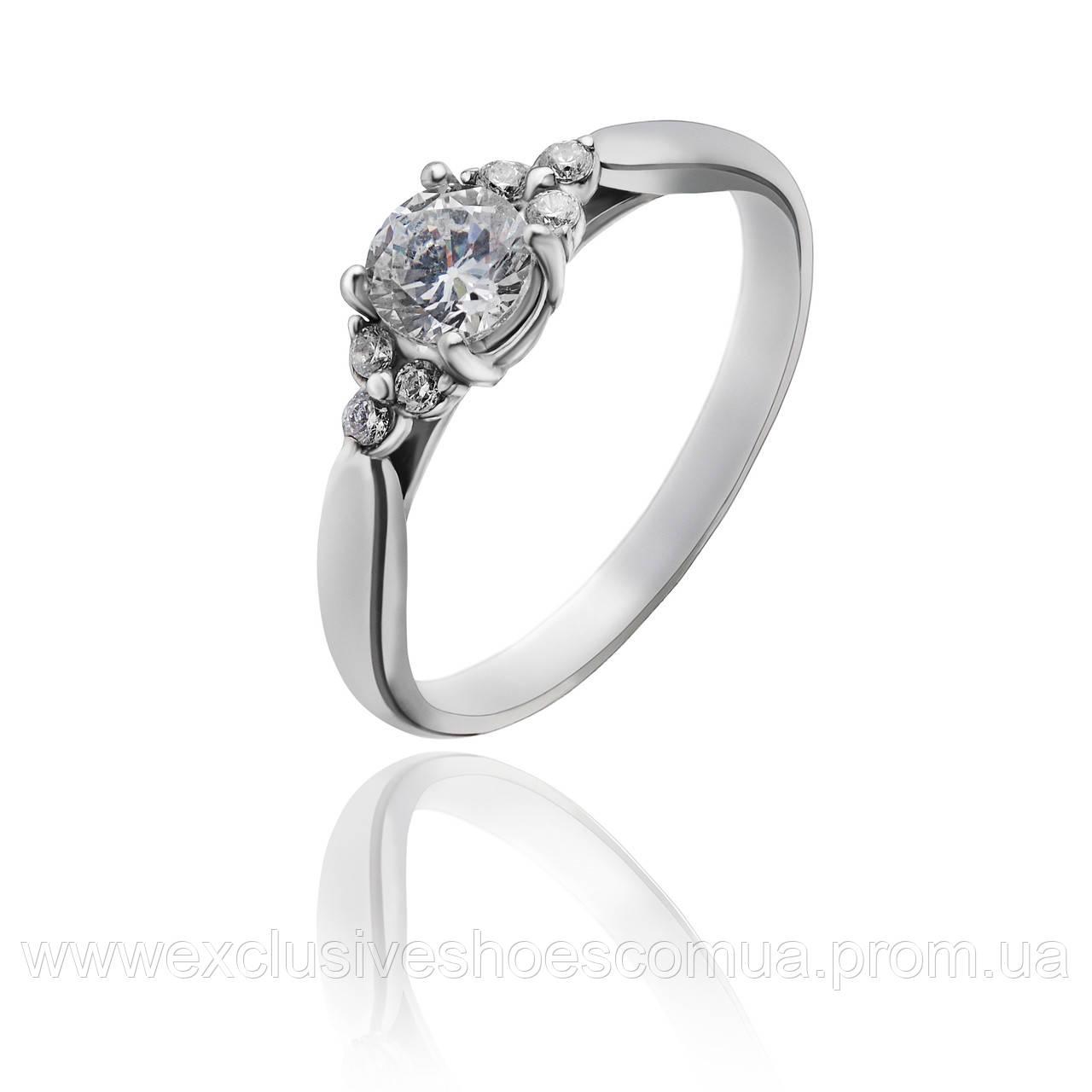 """Серебряное кольцо """" PRINCESS"""" с фианитами арт-910068 или фианитом на выбор Белый"""