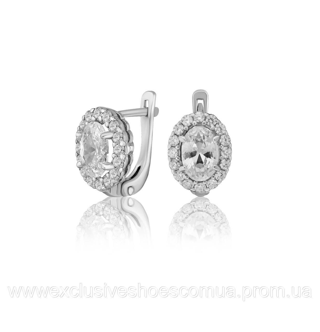 """Серебряные серьги """"Лили"""" с фианитами, арт-920052б"""
