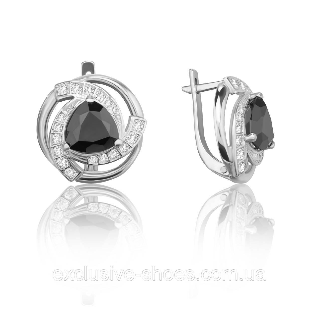 """Серебряные серьги """"Дженна"""" с крупными черными фианитами, арт-920122ч"""