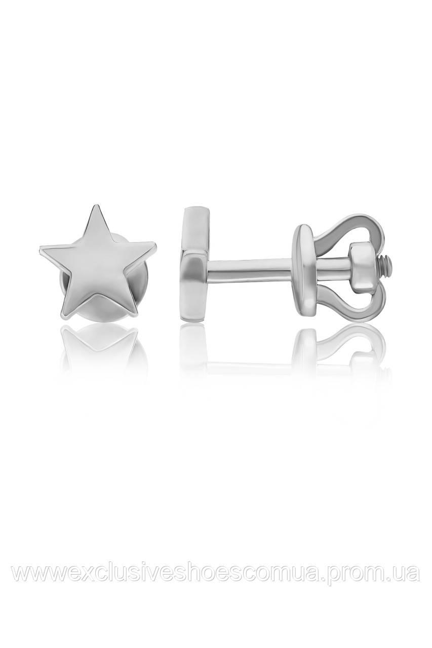 Серебряные серьги пусеты Avangard с фианитом 929004