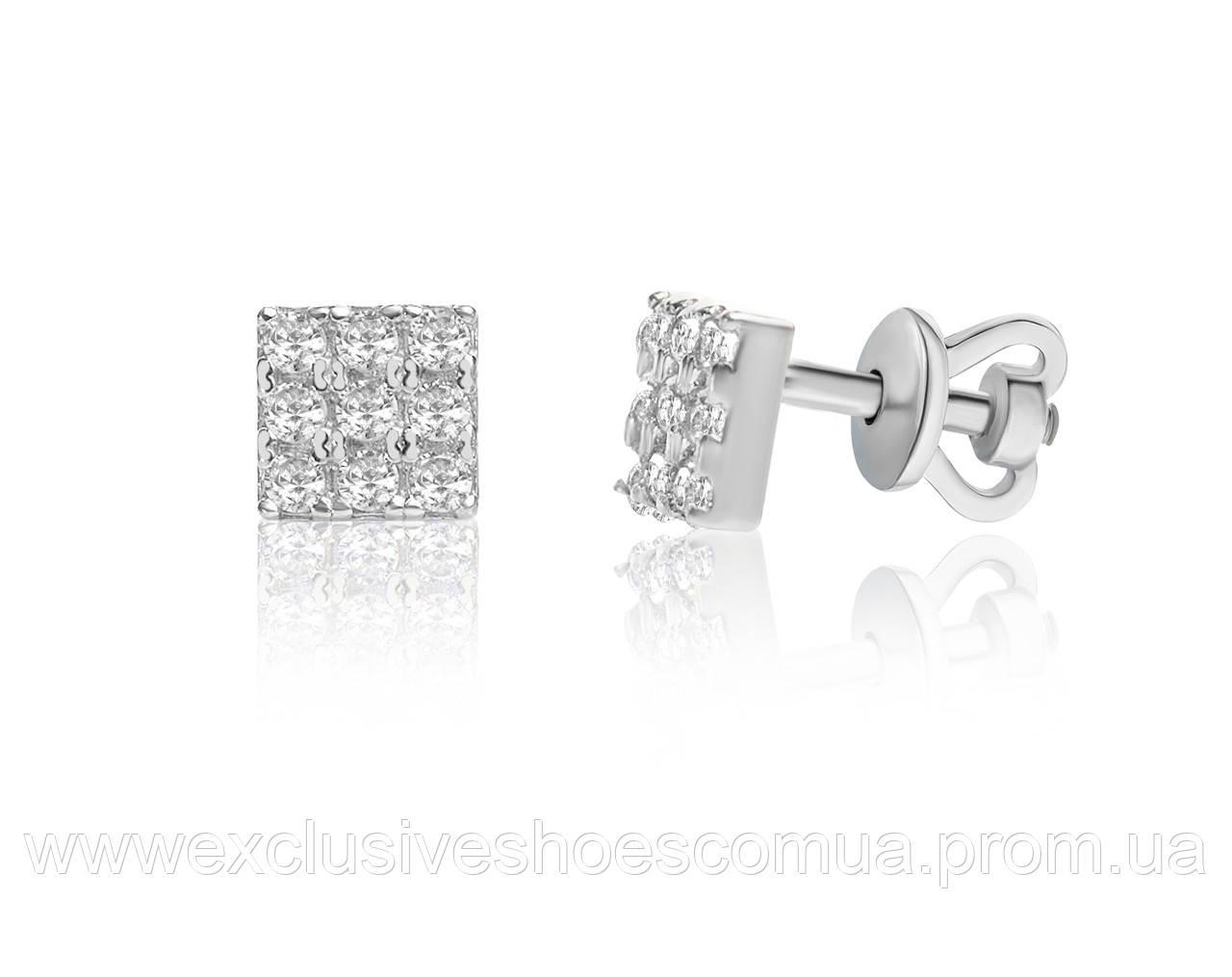 Серебряные серьги гвоздики с цирконами квадратные
