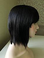 Женский парик каре из натуральных волос, чёрный с чёлкой