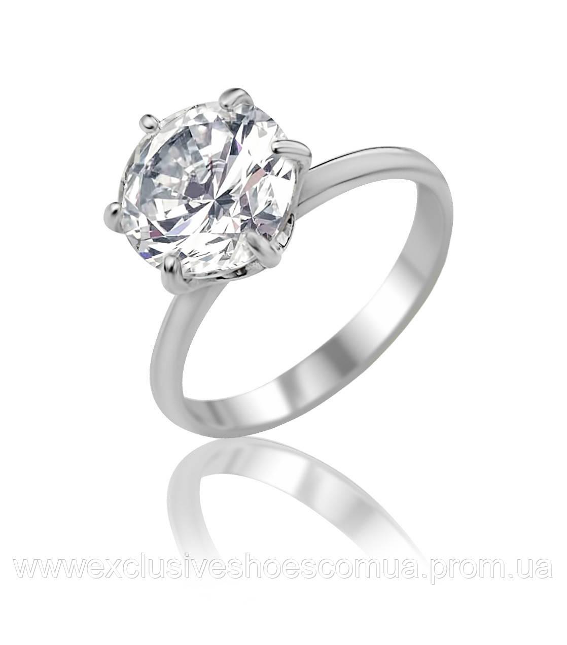 """Серебряное кольцо """"Зарина"""" с крупным фианитом, арт - 91040б."""