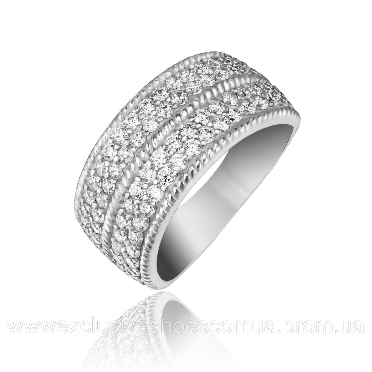 Серебряное кольцо с белыми фианитами, арт-910145б.