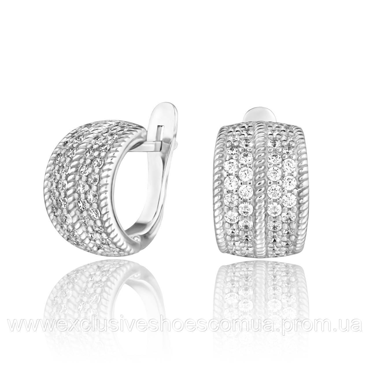Серебряные серьги полукольца с белыми фианитами,  арт-920145б.