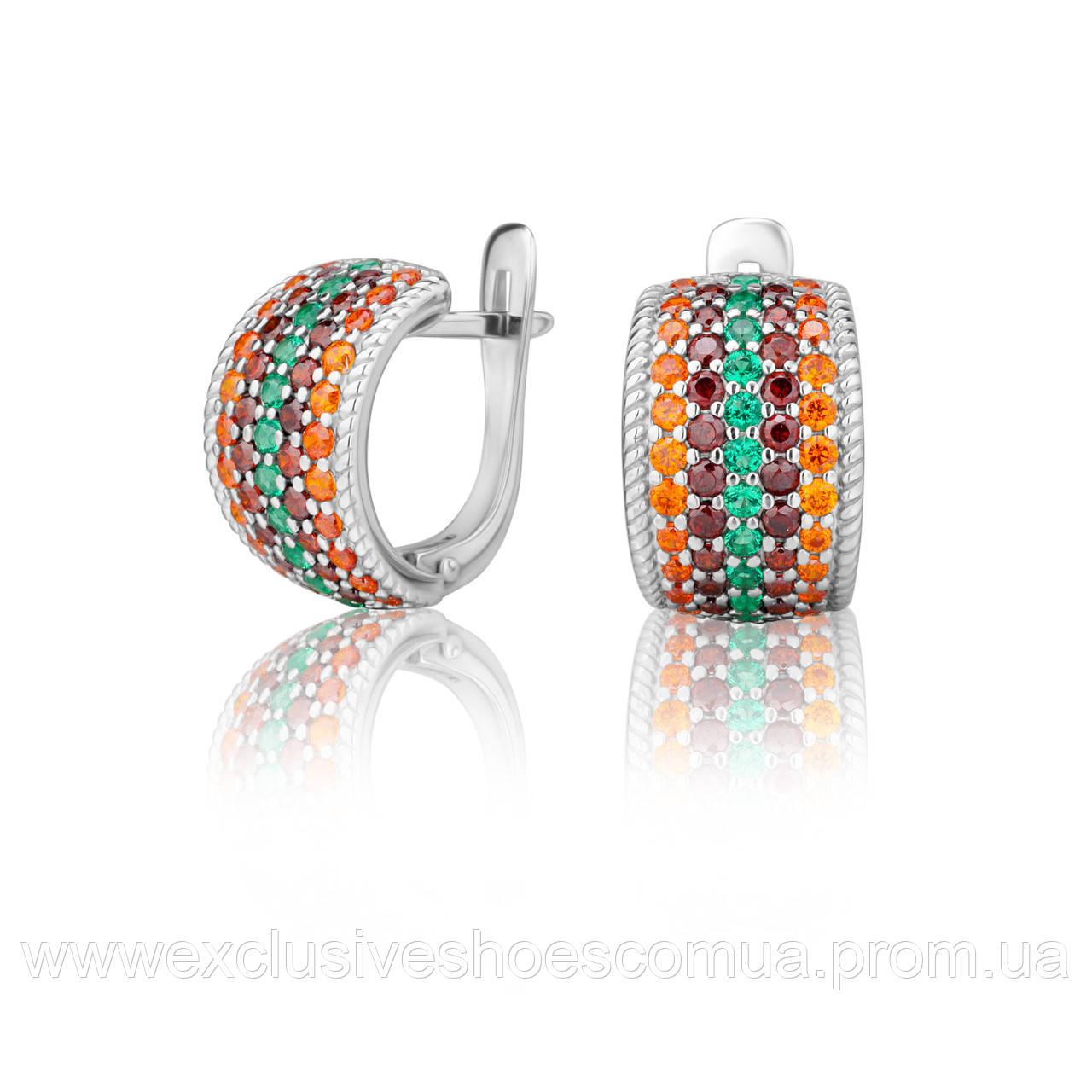 """Серебряные серьги """"SUMMER"""" с разноцветными фианитами,.арт-920144из"""