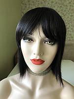 Натуральный парик каре с чёлкой, без имитации из натуральных волос