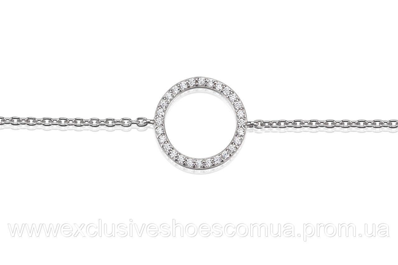 Браслет из серебра AVANGARD с фианитами, размер регулируемый 17-19, арт-940020б