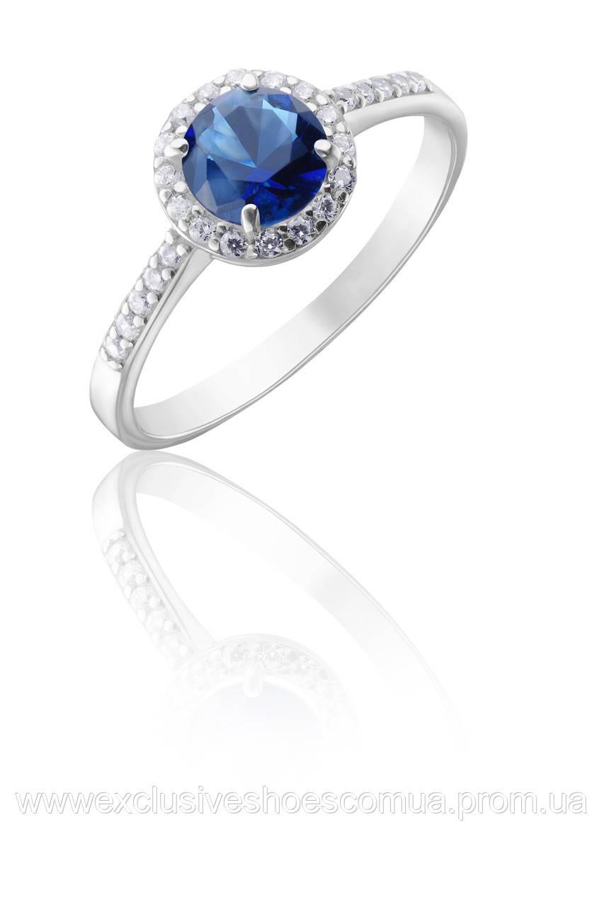 """Серебряное кольцо """"Даниэль"""" с синим и белыми  фианитами, арт- 910054с,"""