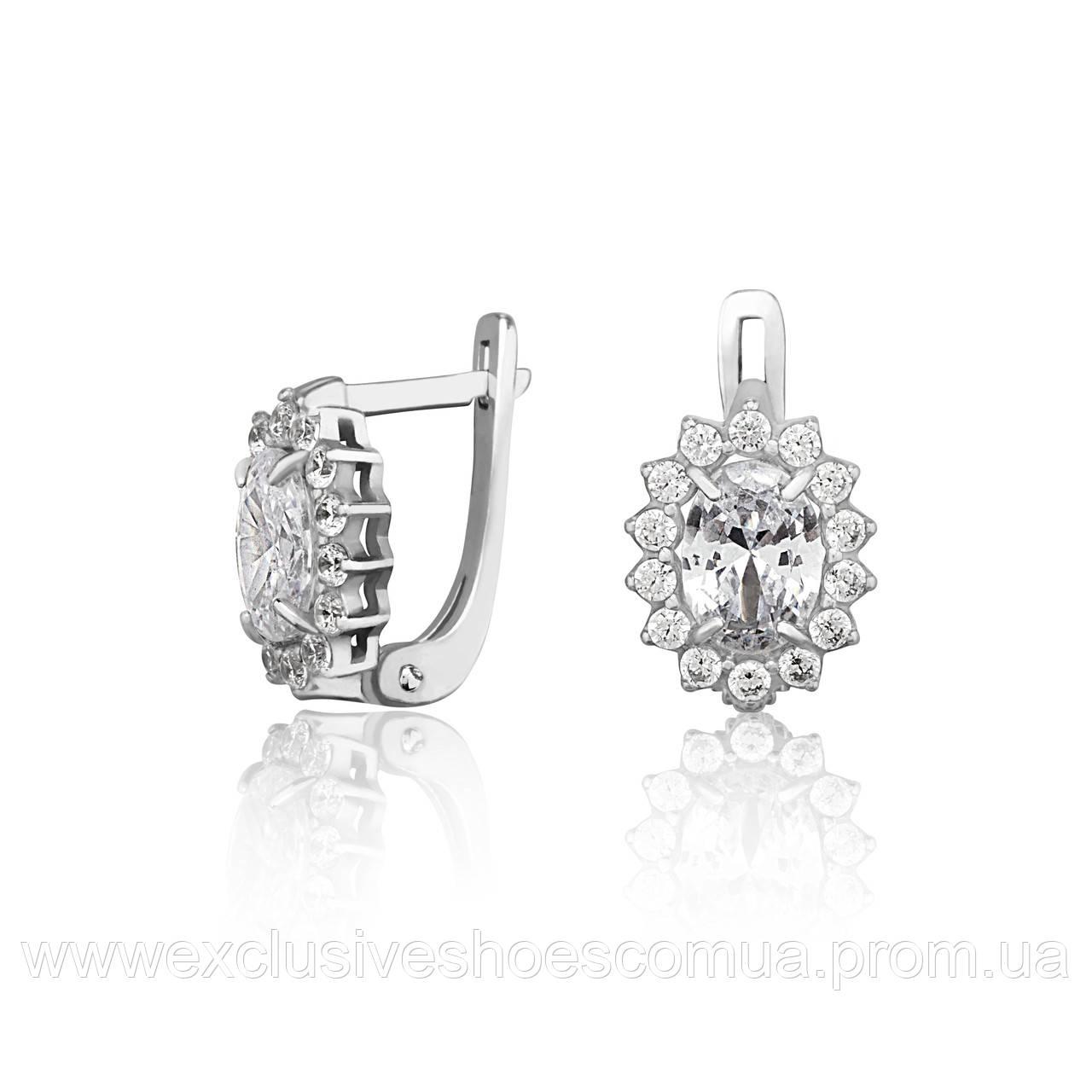 """Серебряные серьги """"Бель"""" с фианитами, арт-920136б"""