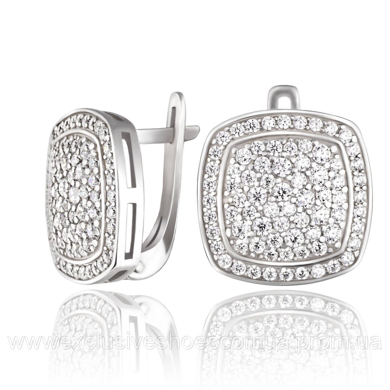 """Серебряные серьги """"Эмперио"""" с белыми фианитами, арт-920149б"""