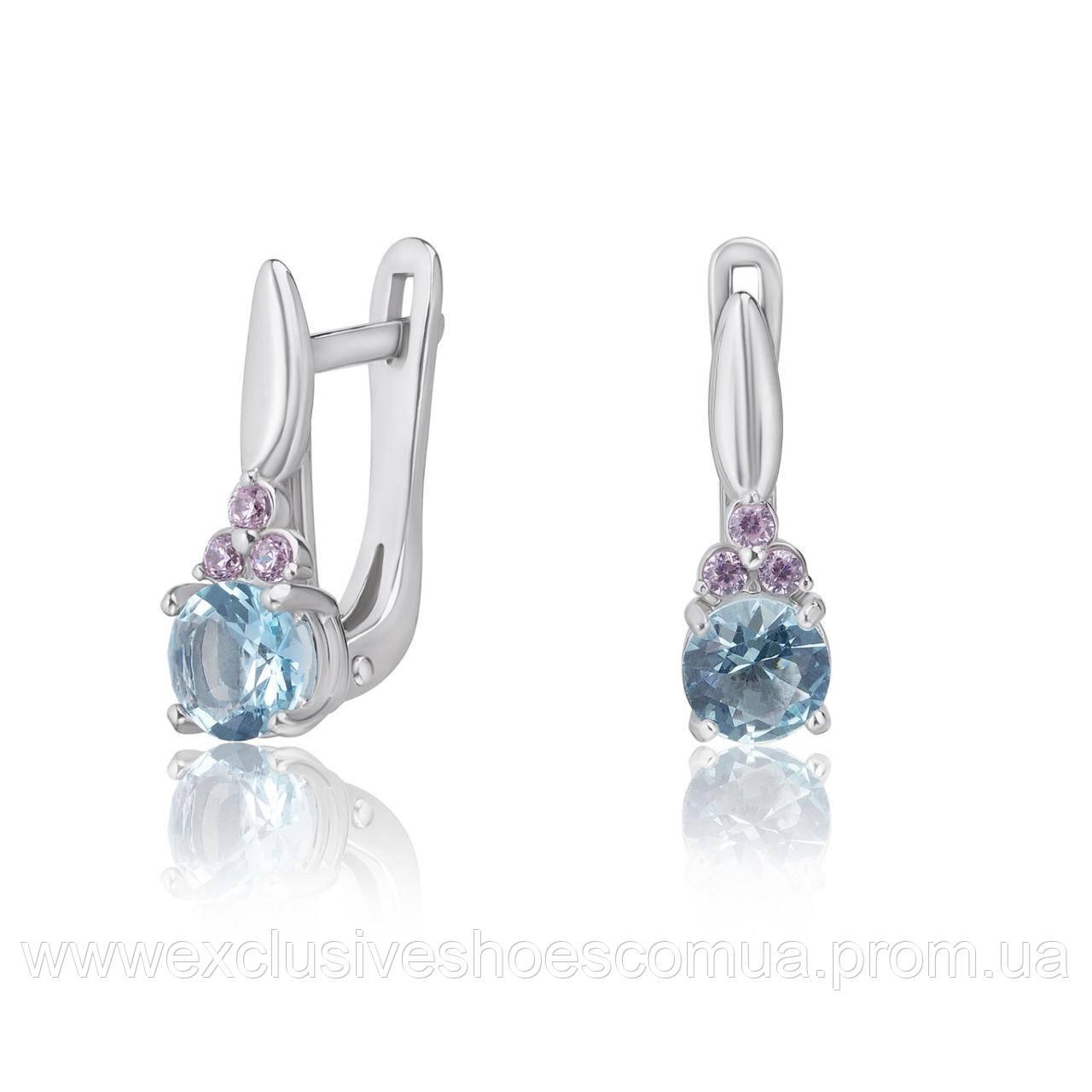 """Серебряные серьги с фианитами """"Princess"""", арт-920068 Голубой"""