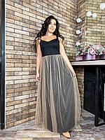 Женское нарядное длинное платье с двойной юбкой батал, фото 1