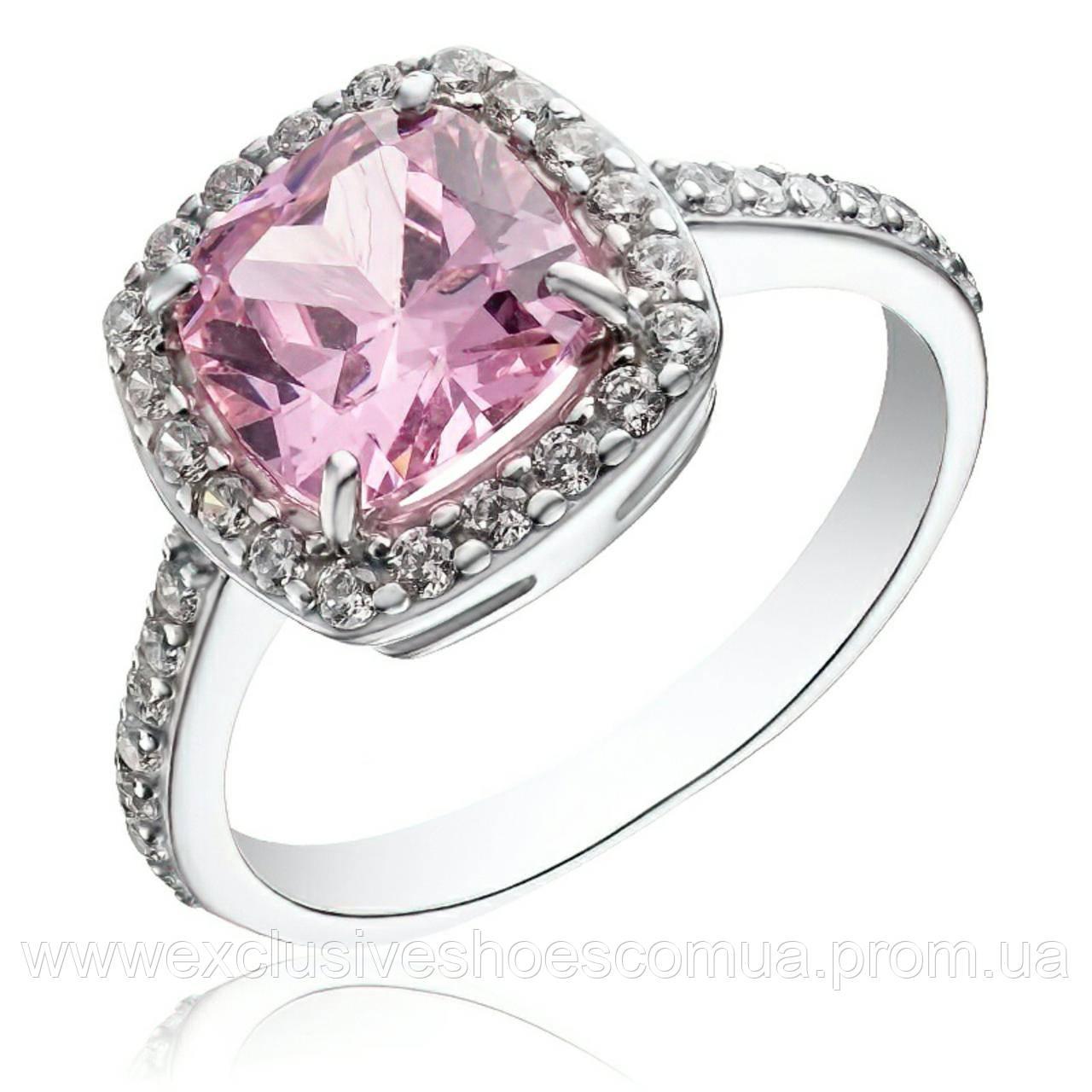 """Серебряное кольцо """"Страсть"""" с крупным розовым фианитом арт-910140р"""
