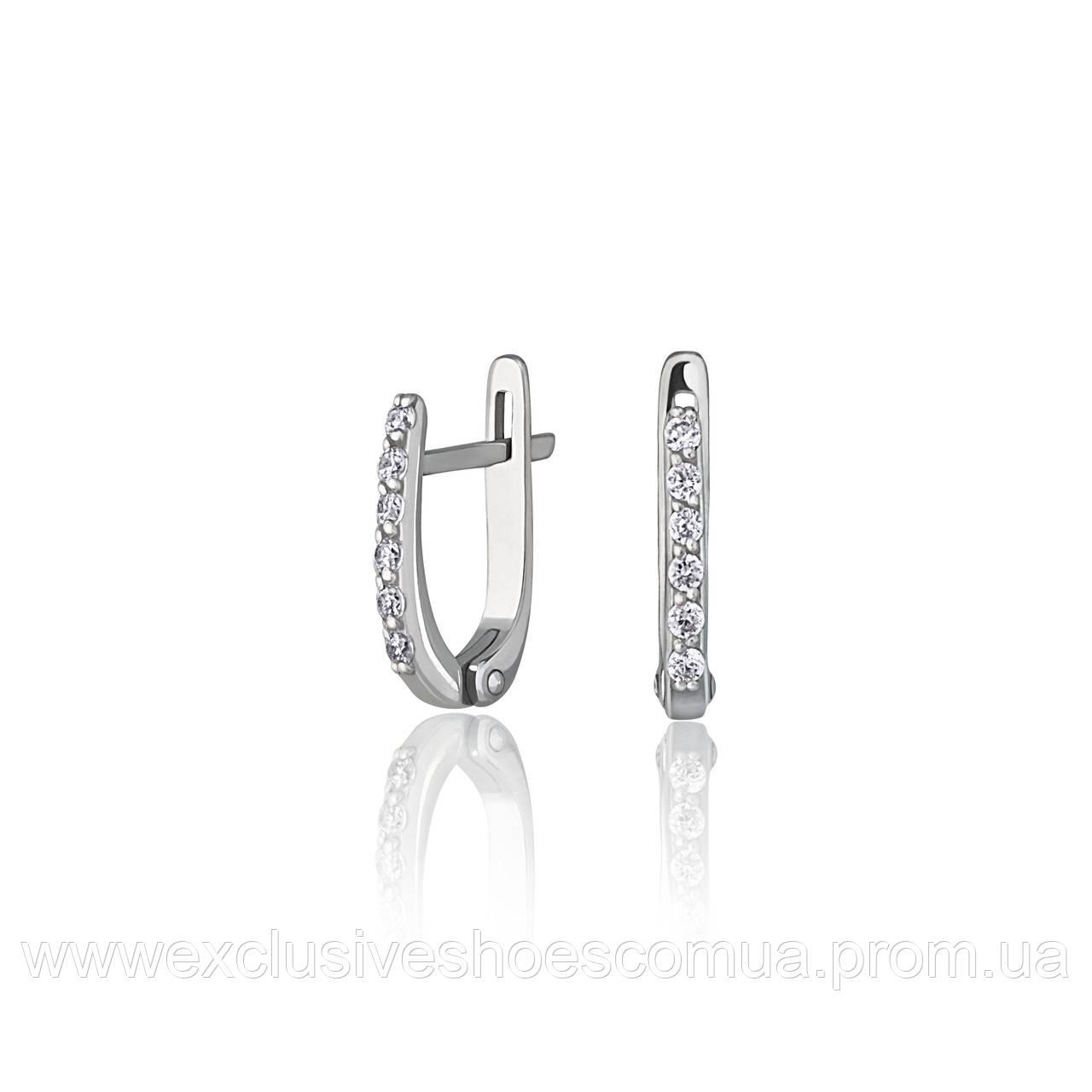 """Серебряные серьги с фианитами """"Ева"""" арт-920038б"""