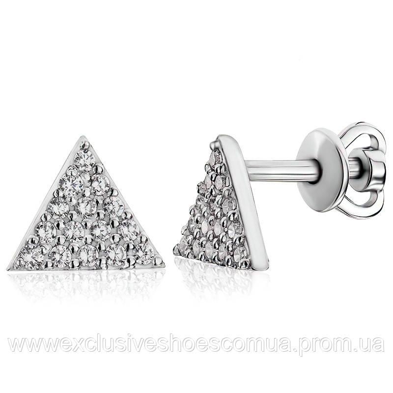 Серебряные пусеты с фианитами в форме треугольника, арт-929129б