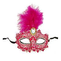 Венецианская маска Патриция (20см) малиновая с серебром 979814654