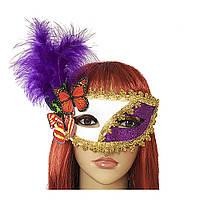 Венецианская маска Загадка белая с сиреневым 979814697