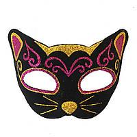 Венецианская маска Кошка фетр (черная с малиновым) 979814188