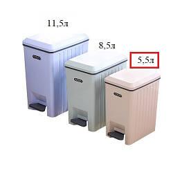 Ведро мусорное пластик с педалью и крышкой микролифт 5.5л 236817