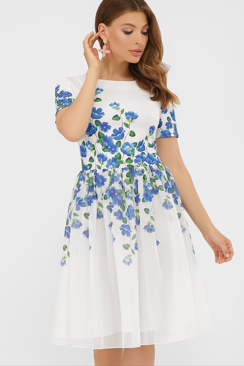 GLEM Синие цветы платье Мияна-КД к/р