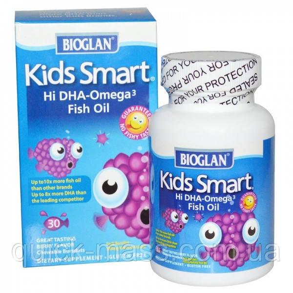 Детские Омега-3 Bioglan Kids Smart Hi DHA-Omega 3 Fish Oil 30 капсул