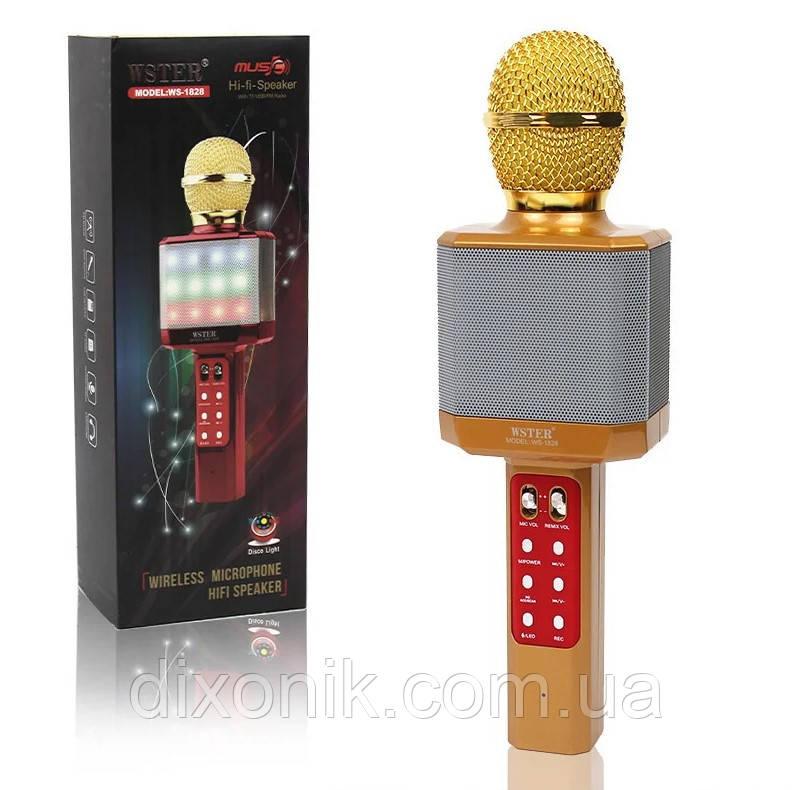 Мощный, стильный Караоке микрофон WSTER WS-1828 c LED подсветкой