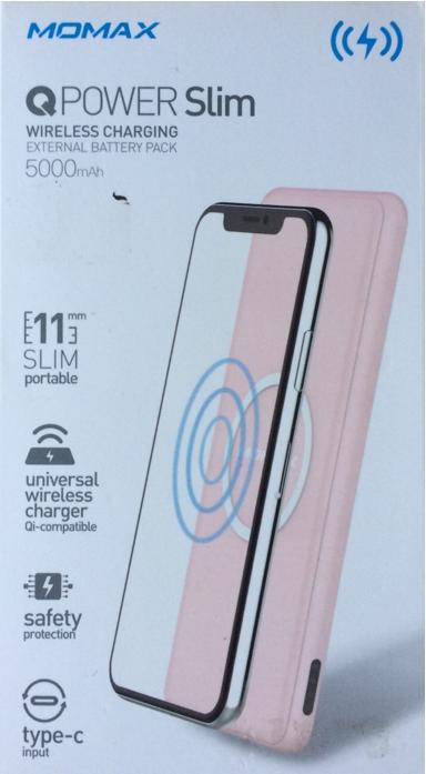 Momax (IP85) Q.Power Slim Wireless Power Bank (5000 mAh) ,Pink