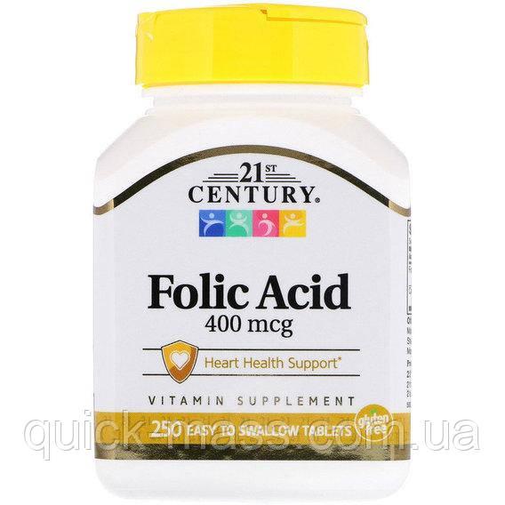 Витамины Фолиевая Кислота, 400 Мкг, 21st Century, 250 Таблеток