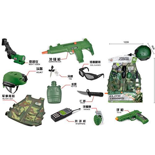 Набор военного M012A (12шт) каска,жилет,автомат,пистолет,нож,рация,очки,св,бат-таб,кул,43-67-16см