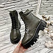 Ботинки женские зима прада хаки, фото 4