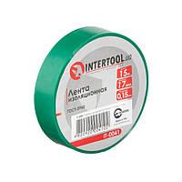 Стрічка ізоляційна 0.15 мм*17мм*15м зелена INTERTOOL IT-0041