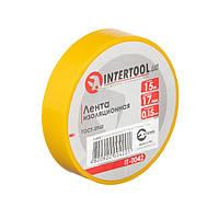 Стрічка ізоляційна 0.15 мм*17мм*15м жовта INTERTOOL IT-0042