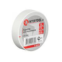 Стрічка ізоляційна 0.15 мм*17мм*15м біла INTERTOOL IT-0043