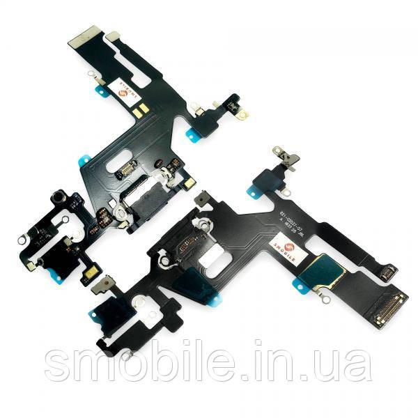 Шлейф iPhone 11 + микрофоны и разъем зарядки, черный (копия ААА)