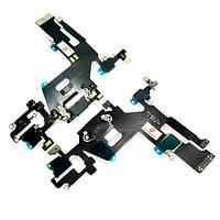 Шлейф iPhone 11 + микрофоны и разъем зарядки, черный (копия ААА), фото 1