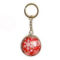 3D брелок новогодний Снежинка (красный) 3,5см 1151078268