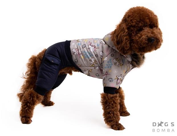 Зимний комбинезон единорог серый для собак DogsBomba