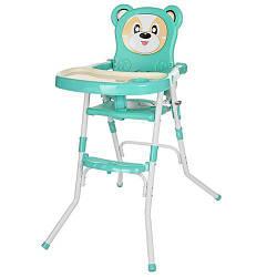 Стульчик 113-15  для кормления,2в1(стульчик),cклад.,2-х точ.рем.безоп,регул.столик,бирюз.