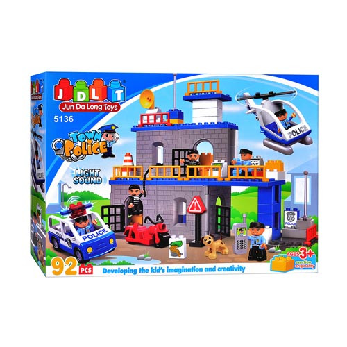 Конструктор JDLT 5136  полицейский участок, звук, свет, 92 дет, в кор-ке, 60-35-12,5см