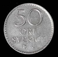 Монета Швеции 50 эре 1973 г., фото 1