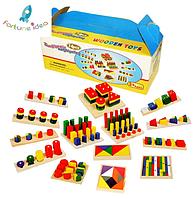 Развивающая деревянная игрушка Монтессори 14 наборов в одном