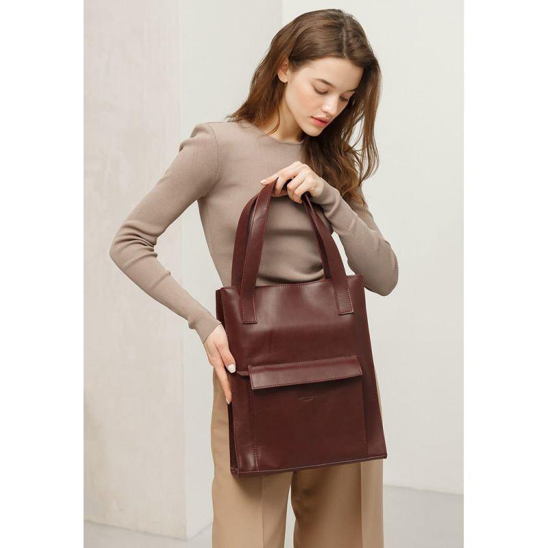 Кожаная женская сумка шоппер Бэтси с карманом бордовая Краст