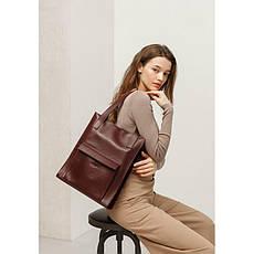 Кожаная женская сумка шоппер Бэтси с карманом бордовая Краст, фото 2